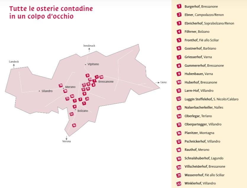 Dove fare Törgellen 2019:  la mappa con i 22 masi dell'Alto Adige