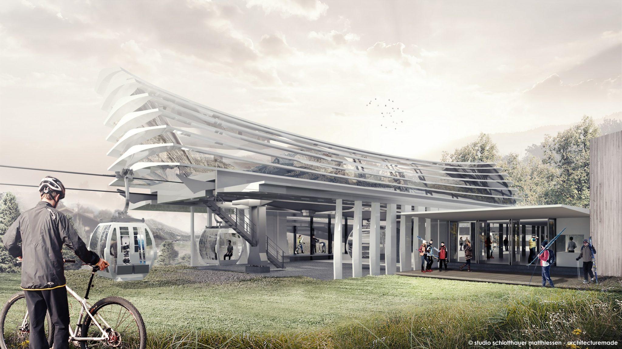 Olang 1 + 2: La nuova stazione. rendering © schlotthauer matthiessen architecturemade